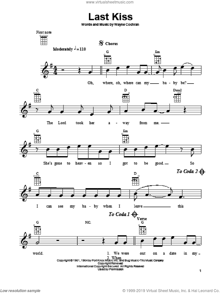 Last Kiss sheet music for ukulele by Wayne Cochran