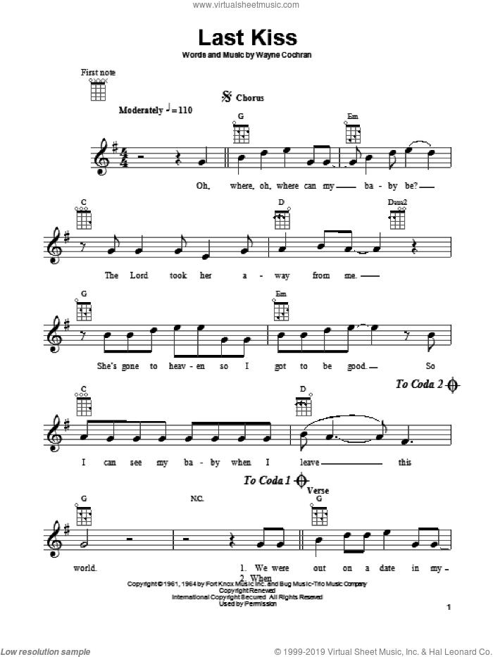 Last Kiss sheet music for ukulele by J. Frank Wilson, Pearl Jam and Wayne Cochran, intermediate skill level