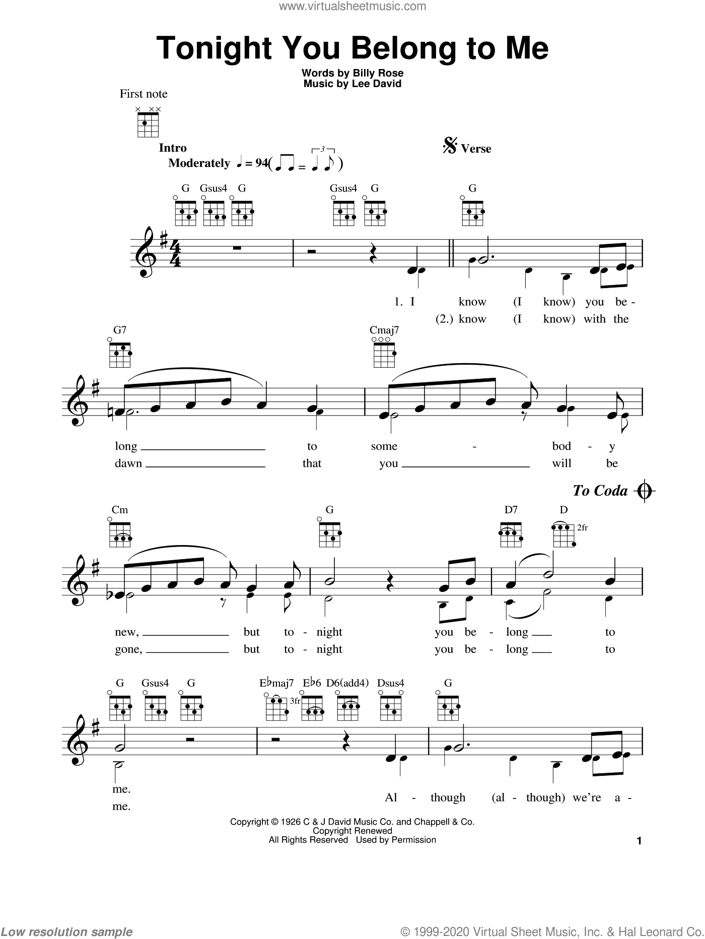 Tonight You Belong To Me sheet music for ukulele by Patience & Prudence, Billy Rose and Lee David, intermediate skill level