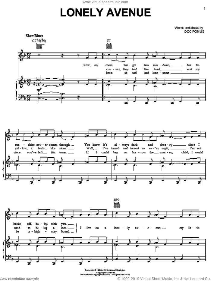 Lonely Avenue sheet music for voice, piano or guitar by Ray Charles and Doc Pomus. Score Image Preview.