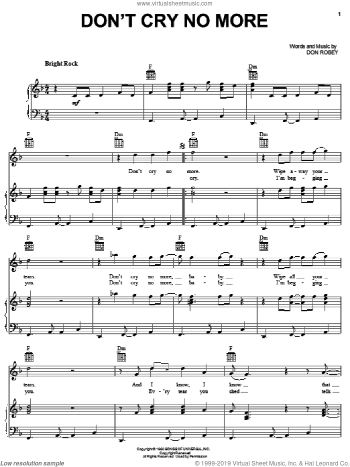 Don't Cry No More sheet music for voice, piano or guitar by Bobby