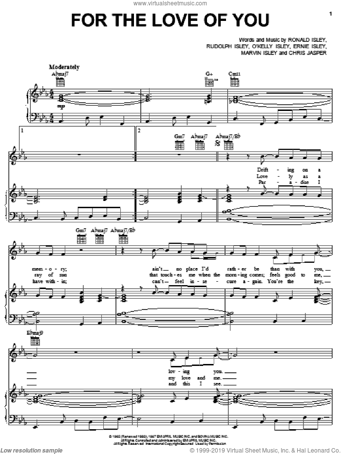 For The Love Of You sheet music for voice, piano or guitar by The Isley Brothers, Chris Jasper, Ernie Isley, Marvin Isley, O Kelly Isley, Ronald Isley and Rudolph Isley, intermediate skill level