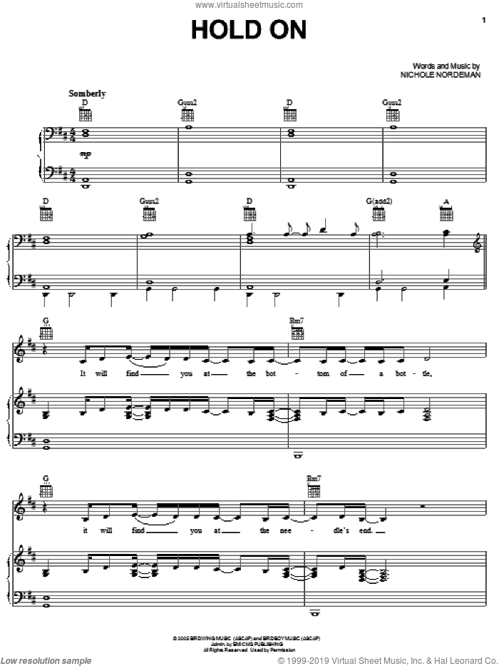 Hold On sheet music for voice, piano or guitar by Nichole Nordeman. Score Image Preview.