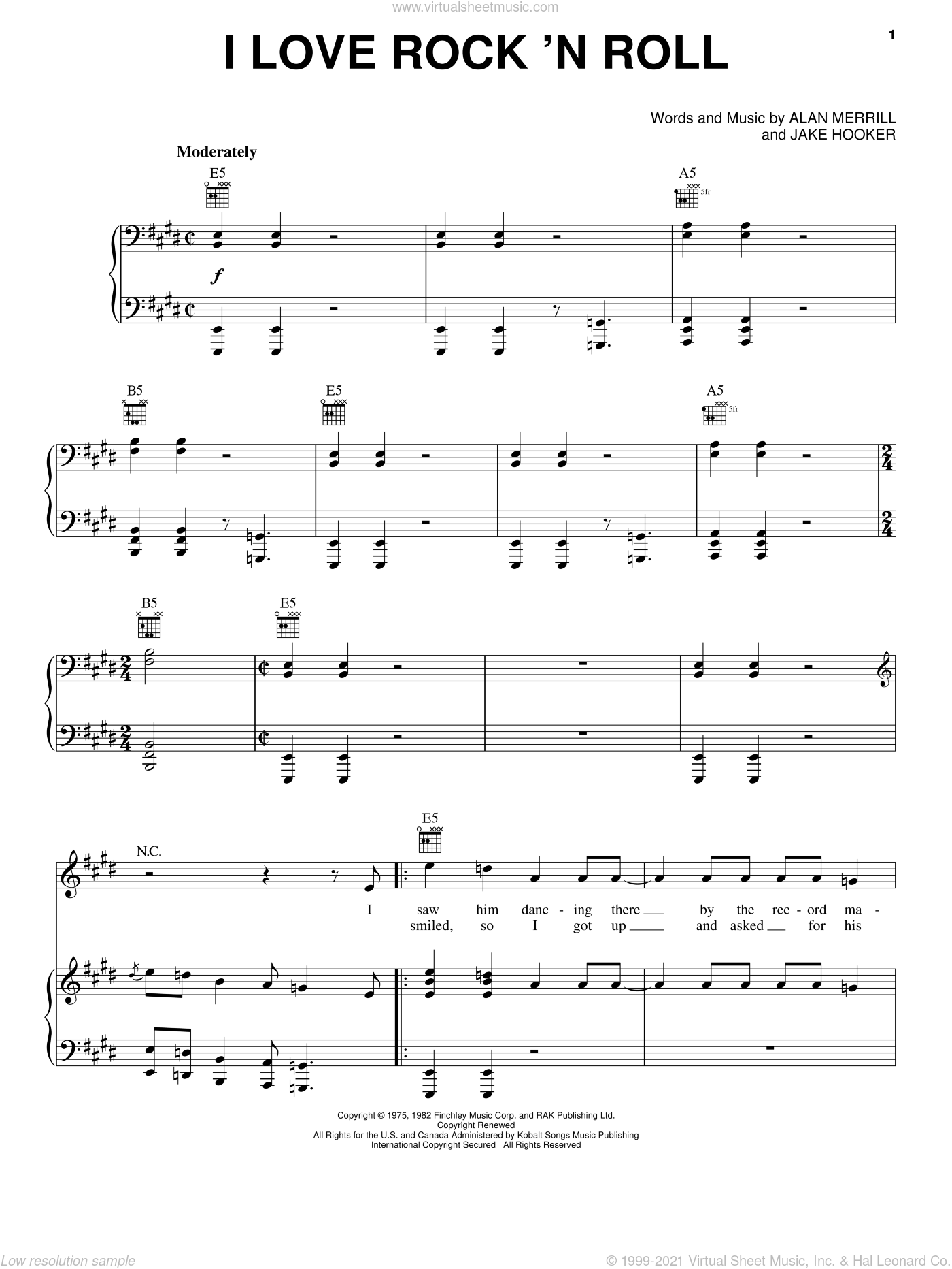 I Love Rock 'N Roll sheet music for voice, piano or guitar by Joan Jett & The Blackhearts, Joan Jett, Alan Merrill and Jake Hooker, intermediate skill level