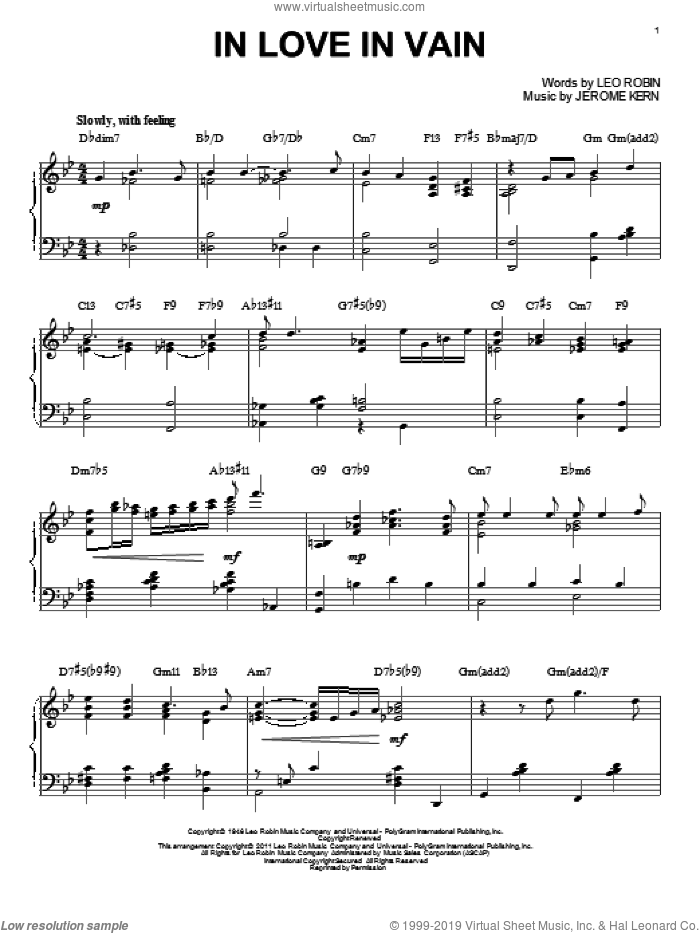 In Love In Vain sheet music for piano solo by Bill Evans, Jerome Kern and Leo Robin, intermediate skill level