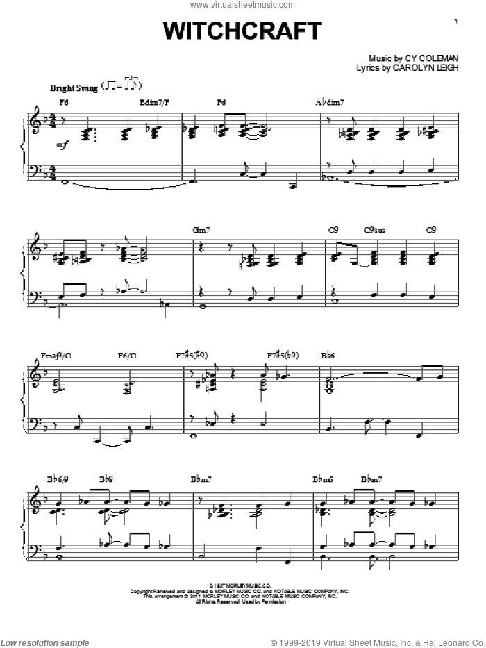 Witchcraft sheet music for piano solo by Cy Coleman, Bill Evans and Carolyn Leigh. Score Image Preview.
