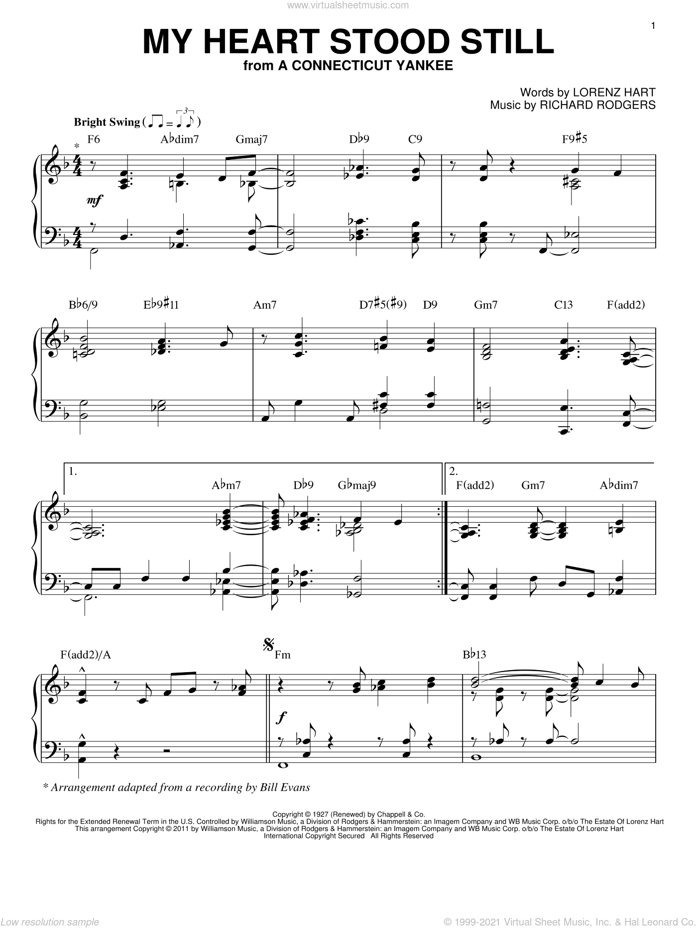 My Heart Stood Still sheet music for piano solo by Richard Rodgers