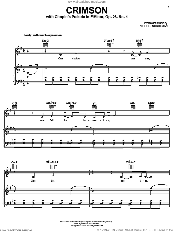 Crimson sheet music for voice, piano or guitar by Nichole Nordeman, intermediate skill level