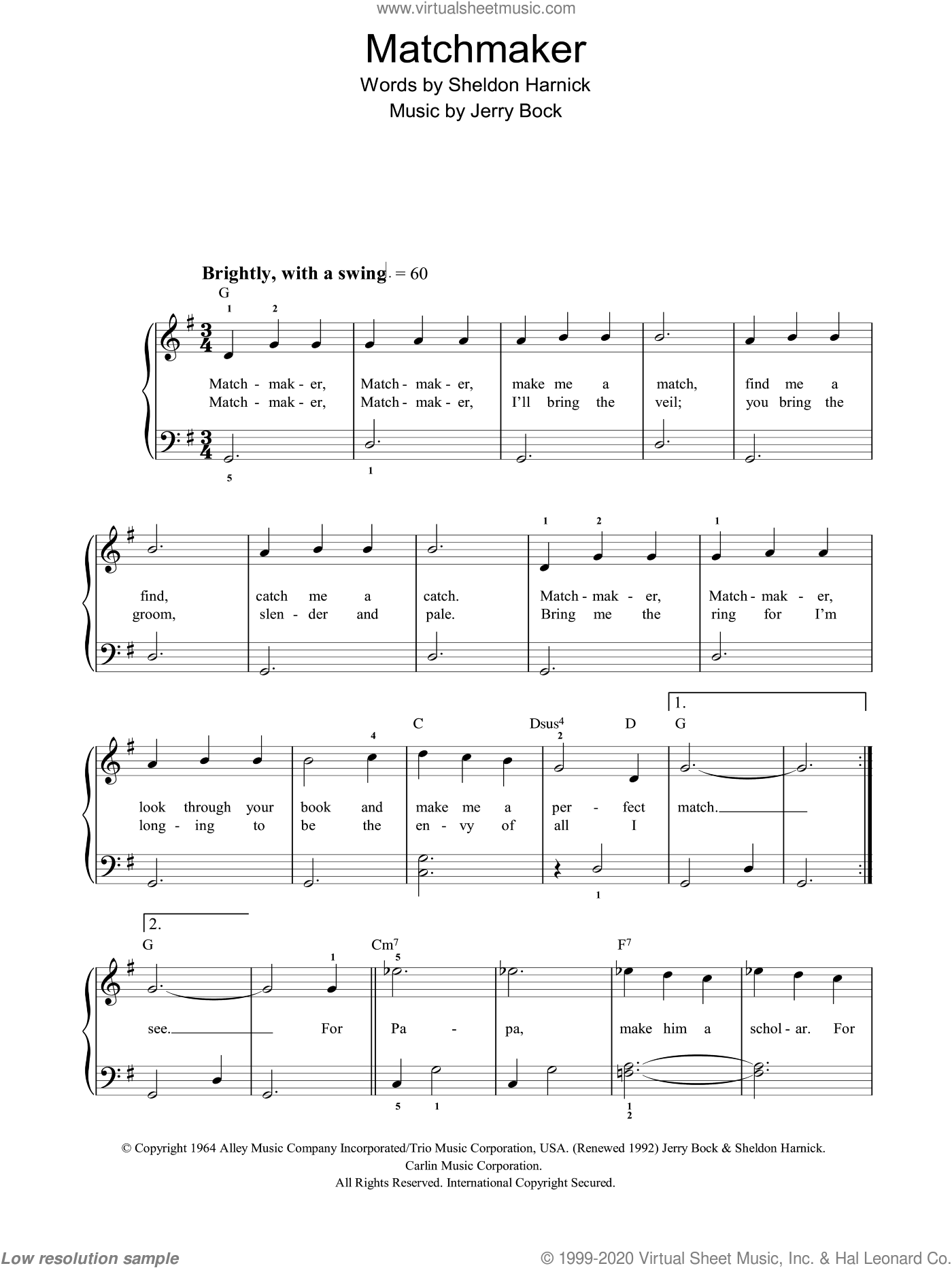 Matchmaker sheet music for piano solo by Bock & Harnick, Fiddler On The Roof (Musical), Jerry Bock and Sheldon Harnick, easy. Score Image Preview.