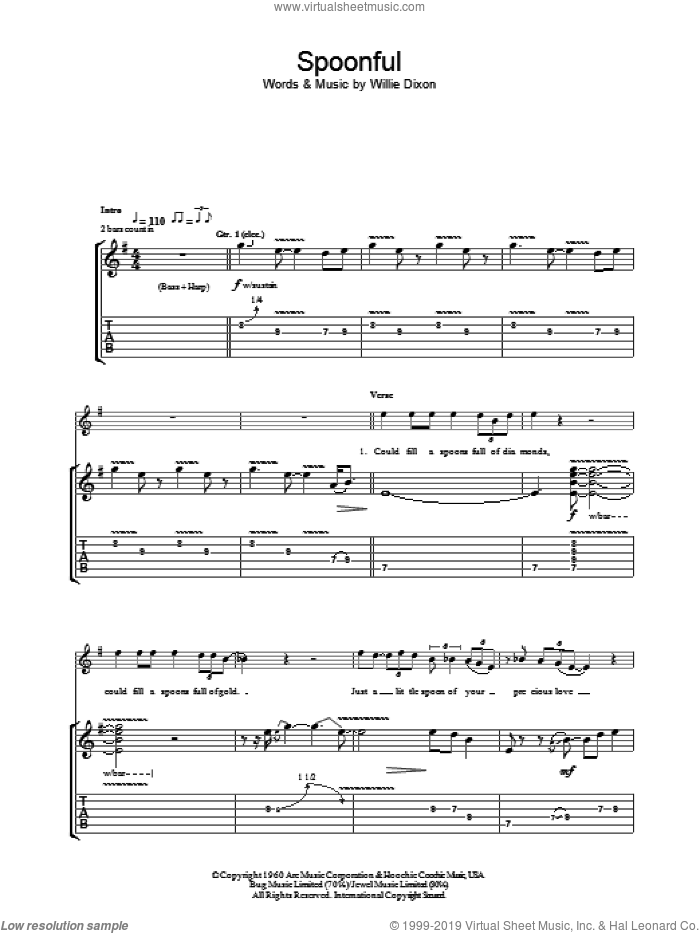 Spoonful sheet music for guitar (tablature) by Willie Dixon and Cream. Score Image Preview.