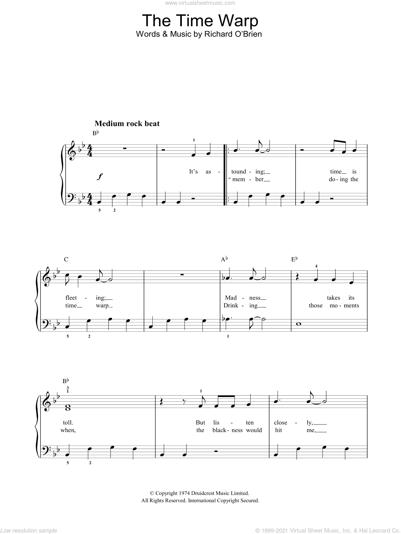 Time Warp sheet music for piano solo by Richard O'Brien and The Rocky Horror Picture Show, easy skill level