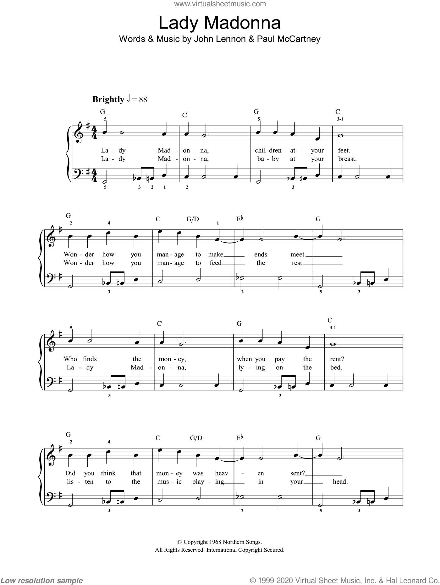 Lady Madonna, (easy) sheet music for piano solo by The Beatles, John Lennon and Paul McCartney, easy skill level