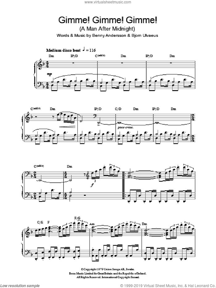 Gimme! Gimme! Gimme! (A Man After Midnight) sheet music for piano solo by Bjorn Ulvaeus