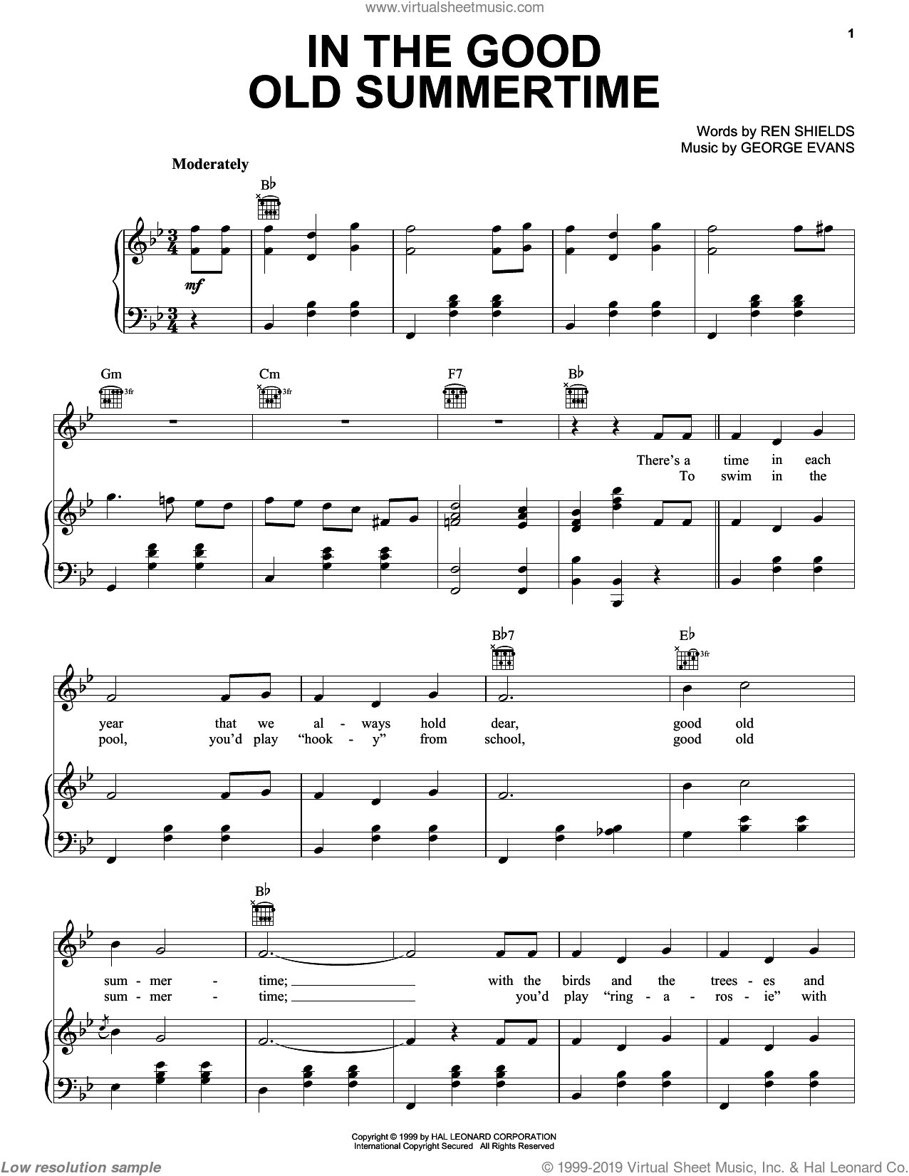 In The Good Old Summertime sheet music for voice, piano or guitar by Ren Shields and George Evans, intermediate skill level