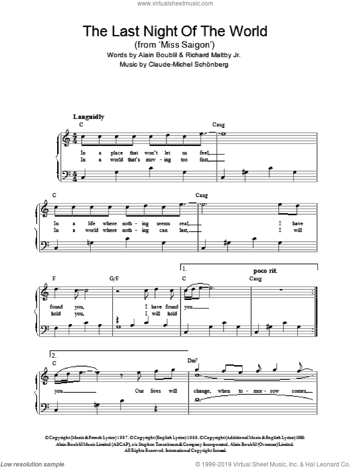 The Last Night Of The World sheet music for piano solo by Claude-Michel Schonberg, Miss Saigon (Musical), Alain Boublil and Richard Maltby, Jr., easy skill level