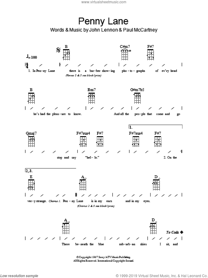 Penny Lane sheet music for ukulele (chords) by Paul McCartney, The Beatles and John Lennon. Score Image Preview.