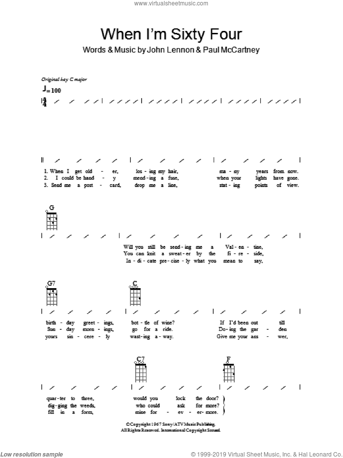 When I'm Sixty-Four sheet music for ukulele (chords) by The Beatles, Paul McCartney and John Lennon, intermediate