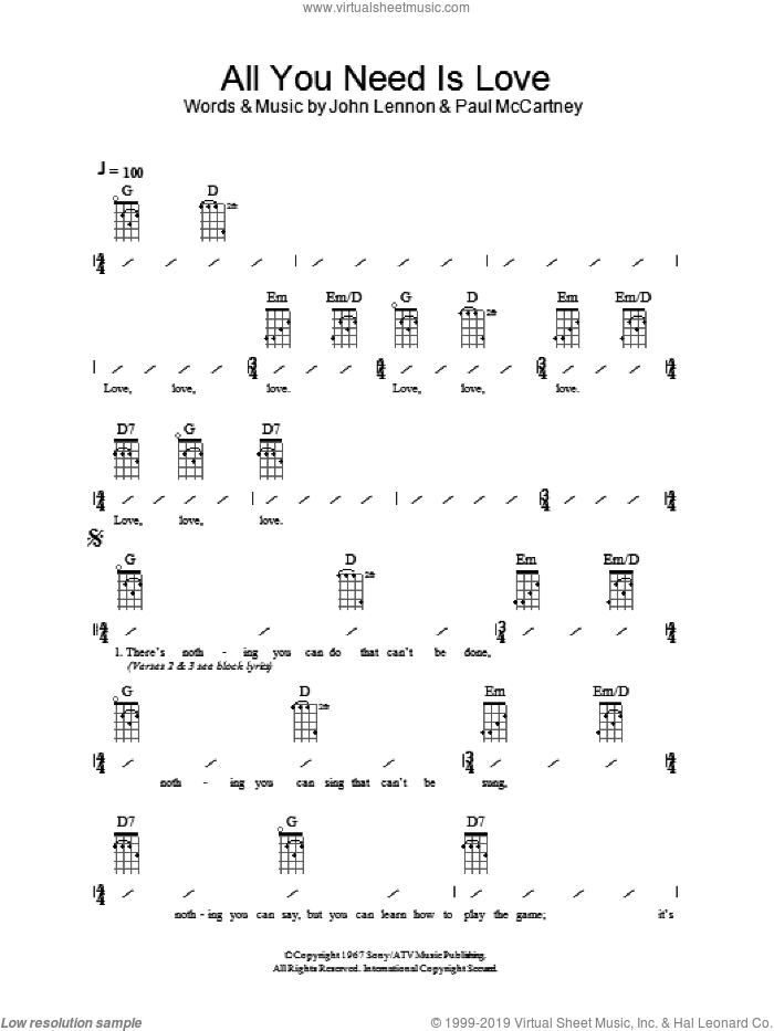 All You Need Is Love sheet music for ukulele (chords) by The Beatles, John Lennon and Paul McCartney, intermediate skill level