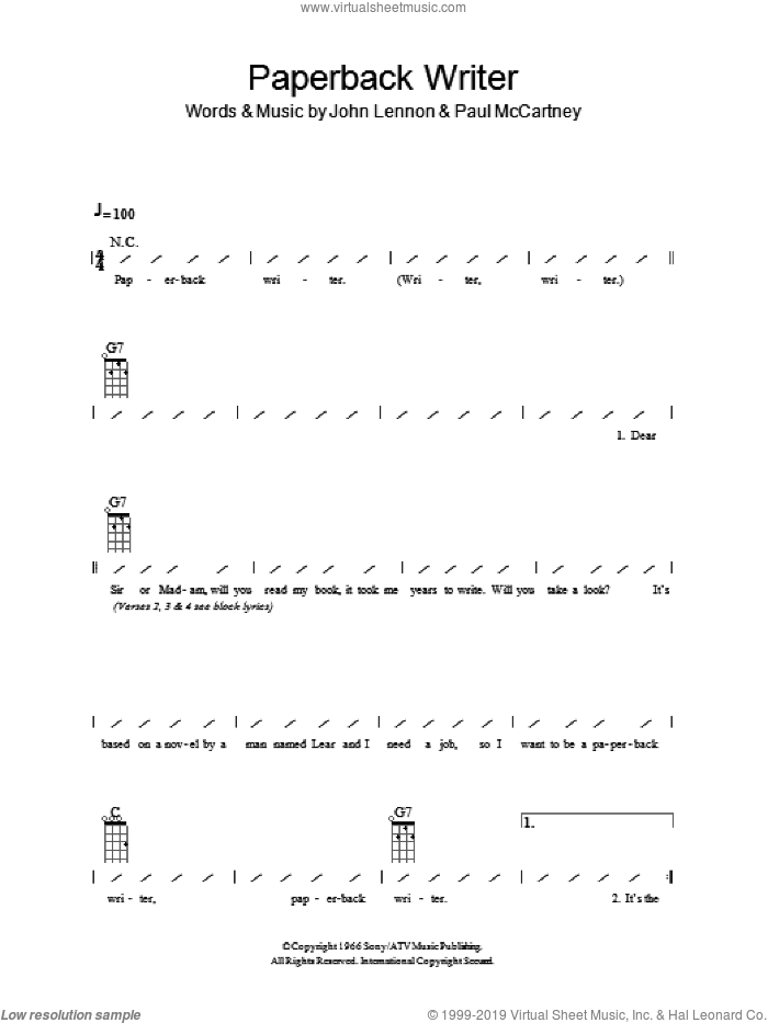 Beatles Paperback Writer Sheet Music For Ukulele Chords Pdf