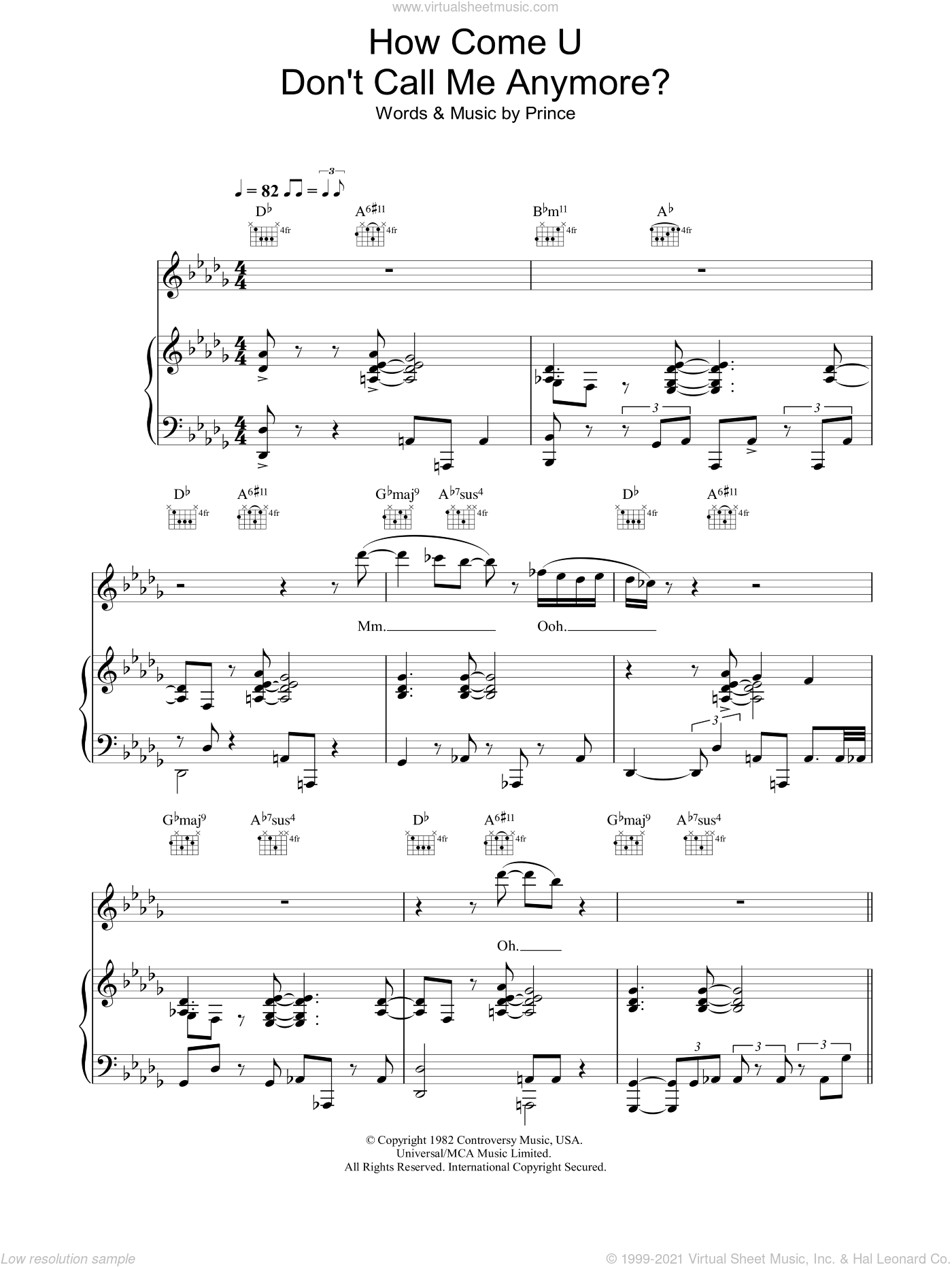 How Come U Don't Call Me Anymore sheet music for voice, piano or guitar by Prince. Score Image Preview.