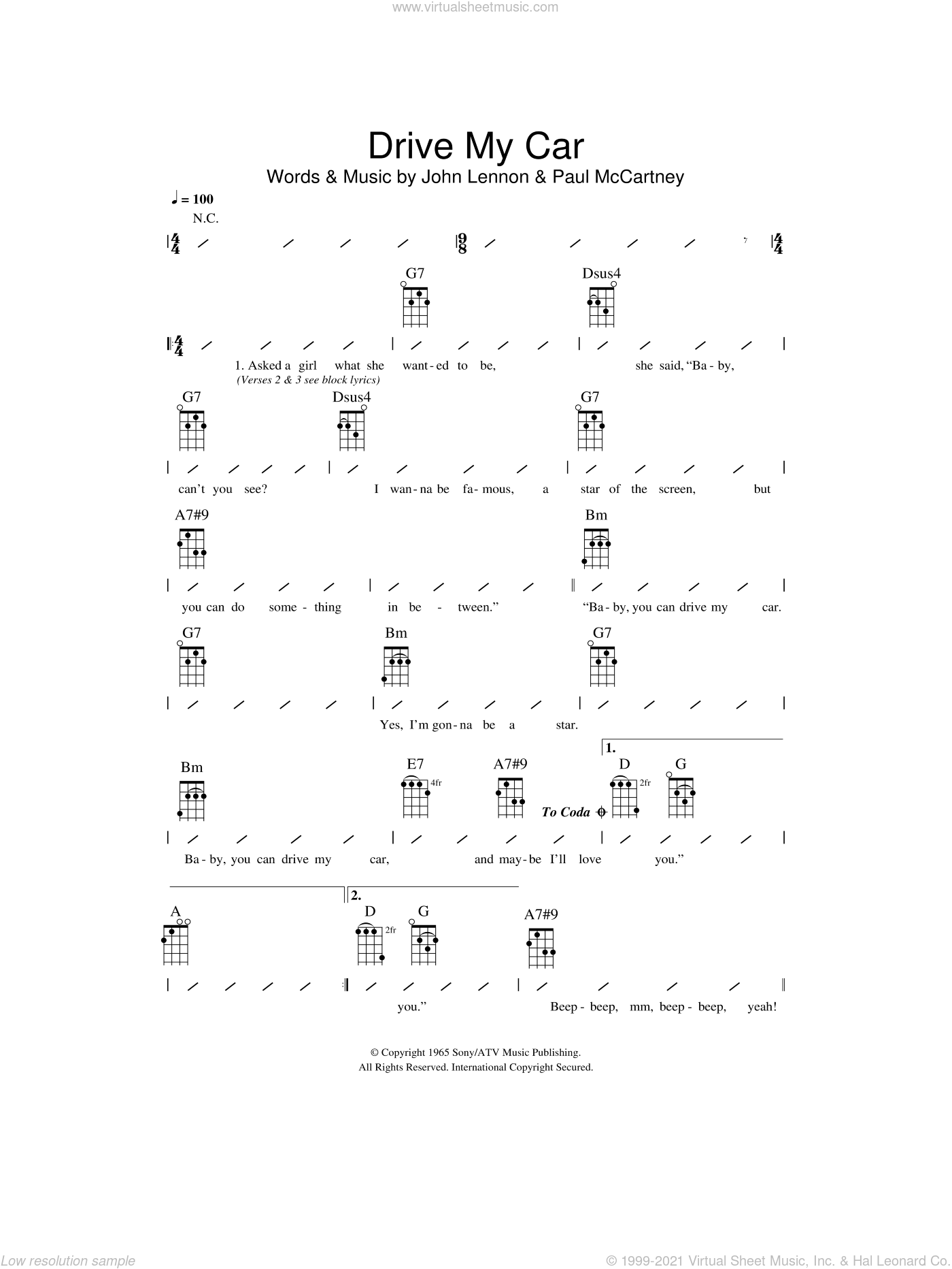 Beatles - Drive My Car sheet music for ukulele (chords) [PDF]