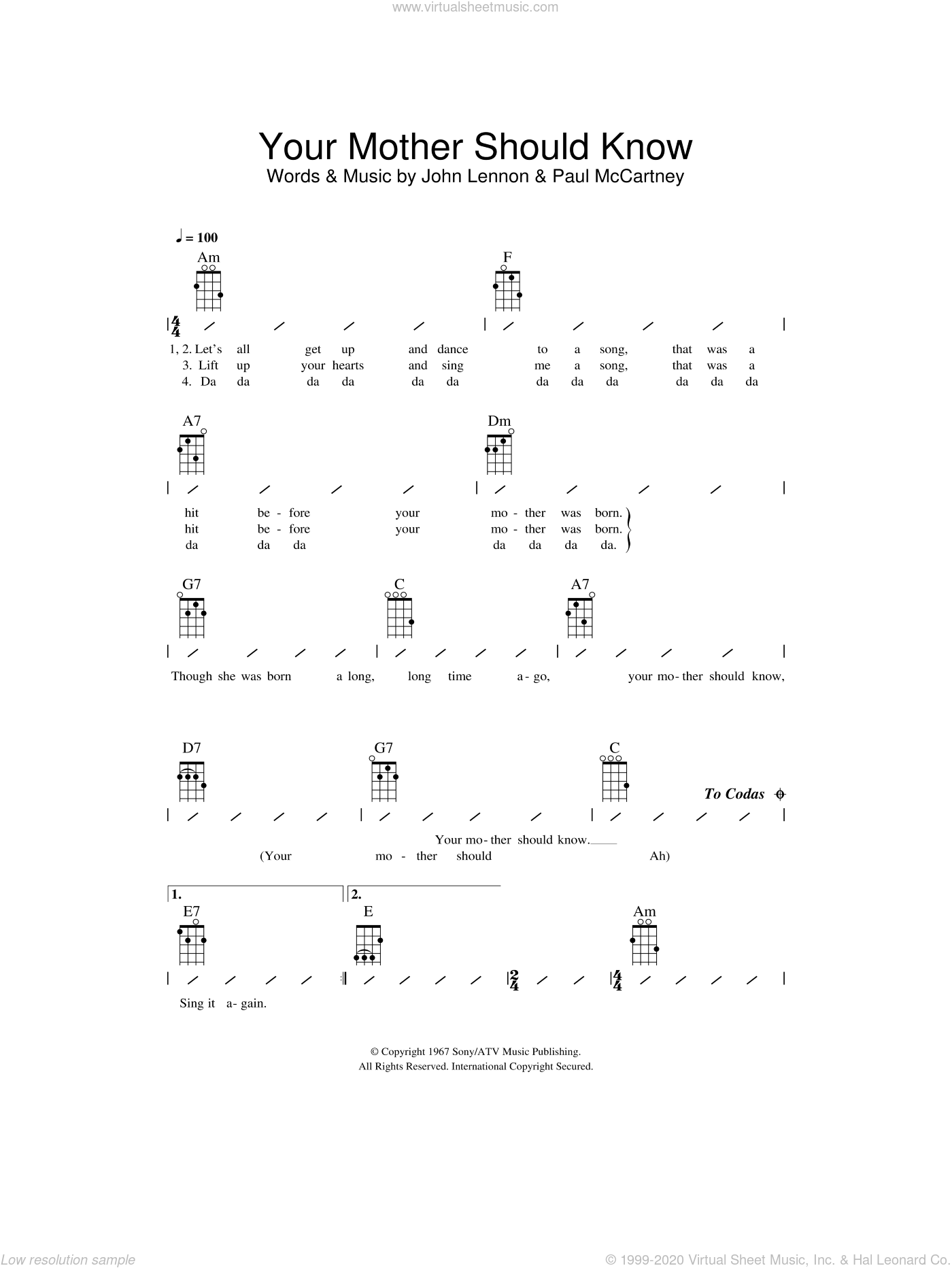 Your Mother Should Know sheet music for ukulele (chords) by John Lennon, Paul McCartney and The Beatles. Score Image Preview.