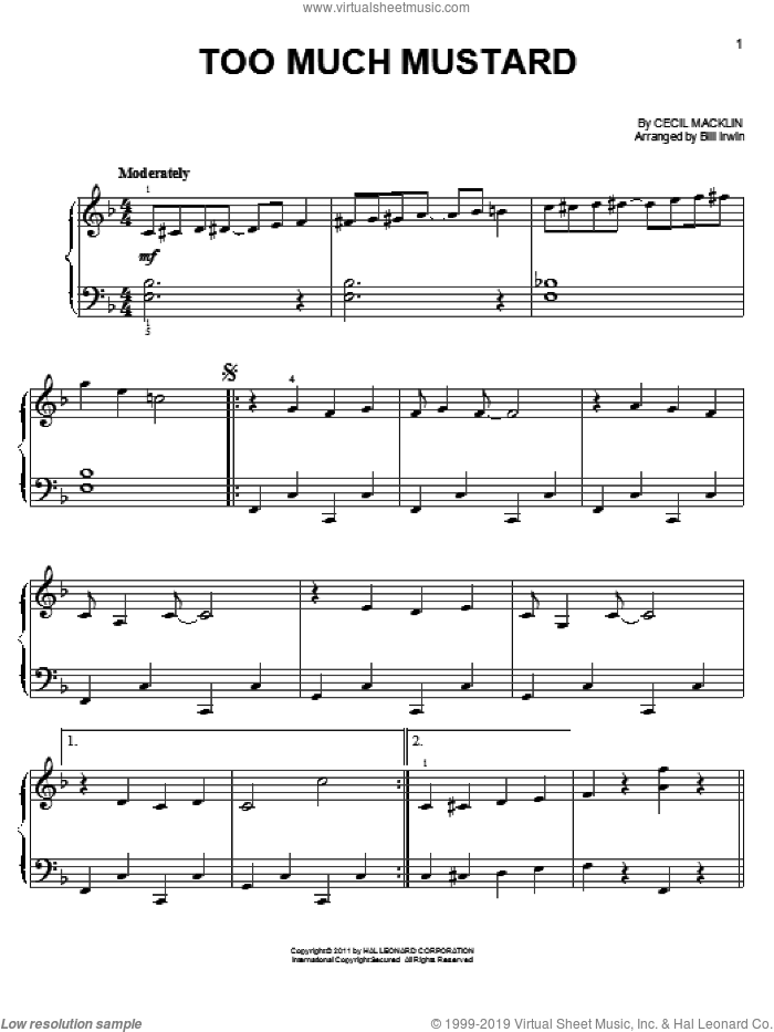 Too Much Mustard sheet music for piano solo by Cecil Macklin. Score Image Preview.
