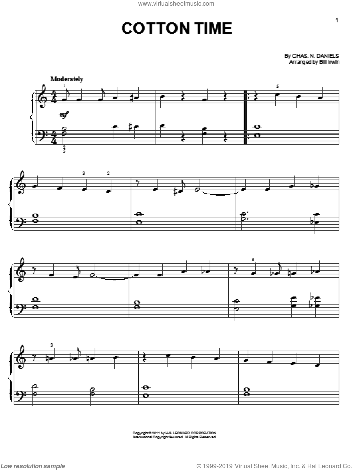 Cotton Time sheet music for piano solo by Chas. N. Daniels. Score Image Preview.