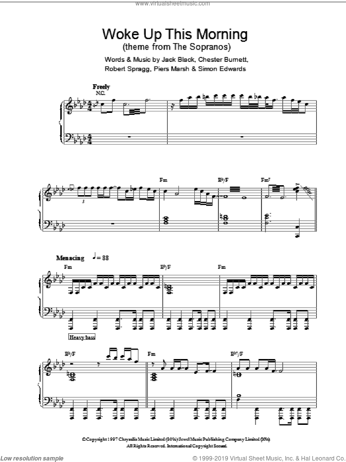 Woke Up This Morning (Theme from The Sopranos) sheet music for piano solo by Simon Edwards and Jack Black. Score Image Preview.