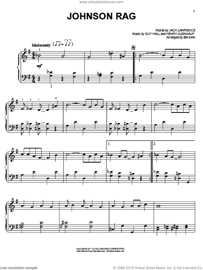Johnson Rag sheet music for piano solo by Jack Lawrence and Guy Hall. Score Image Preview.