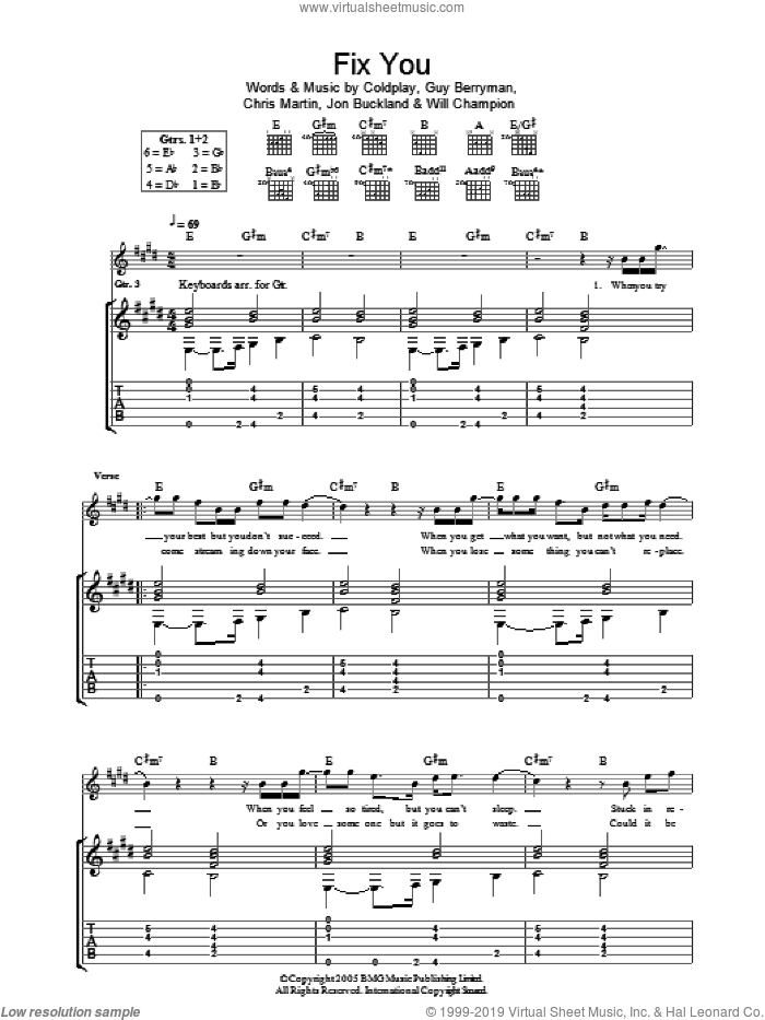 Fix You sheet music for guitar (tablature) by Will Champion, Coldplay, Chris Martin, Guy Berryman and Jon Buckland. Score Image Preview.