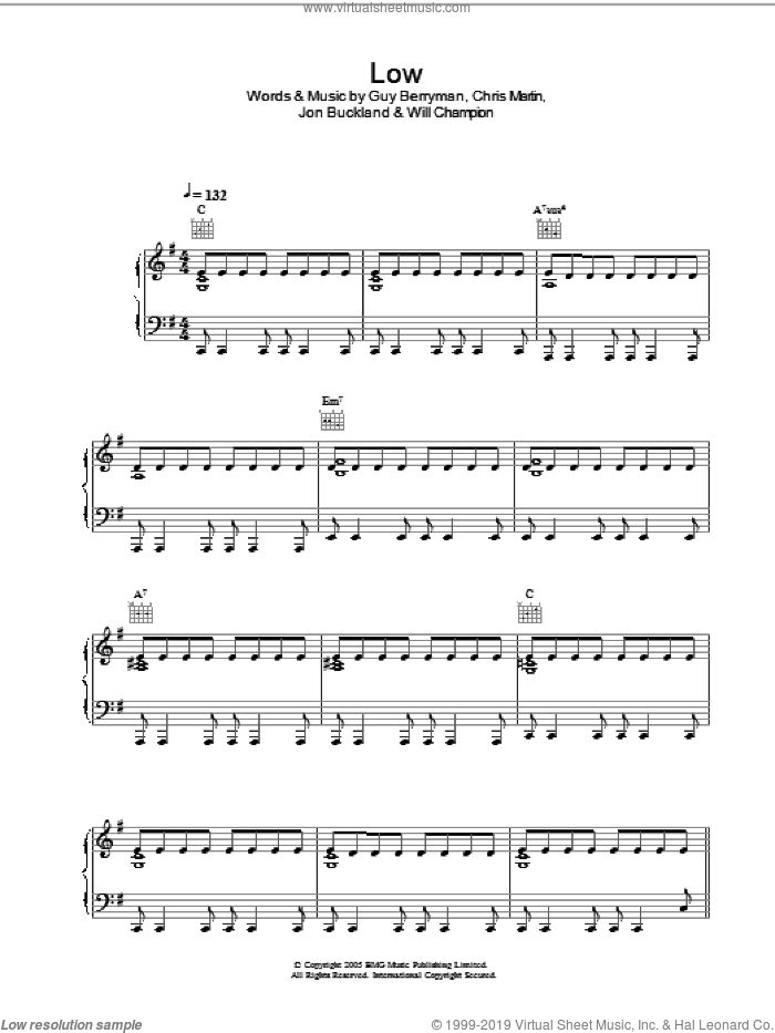 Low sheet music for voice, piano or guitar by Coldplay, intermediate voice, piano or guitar. Score Image Preview.