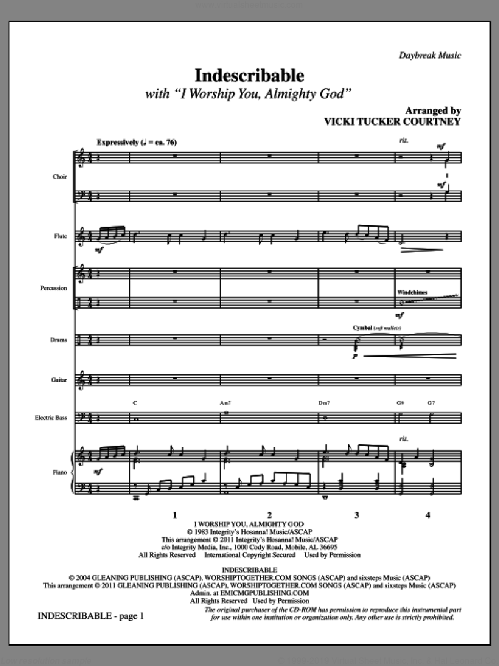 Indescribable (complete set of parts) sheet music for orchestra/band (Rhythm) by Jesse Reeves, Laura Story, Sondra Corbett-Wood and Vicki Tucker Courtney, intermediate skill level