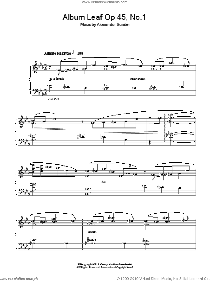 Album Leaf sheet music for piano solo by Alexander Scriabin. Score Image Preview.