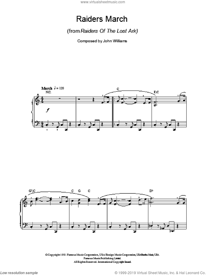 Raiders March sheet music for piano solo by John Williams, easy. Score Image Preview.