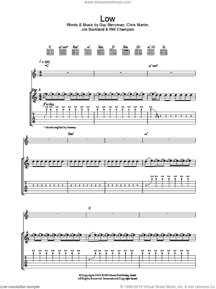 Low sheet music for guitar (tablature) by Coldplay, Chris Martin, Guy Berryman, Jon Buckland and Will Champion, intermediate skill level