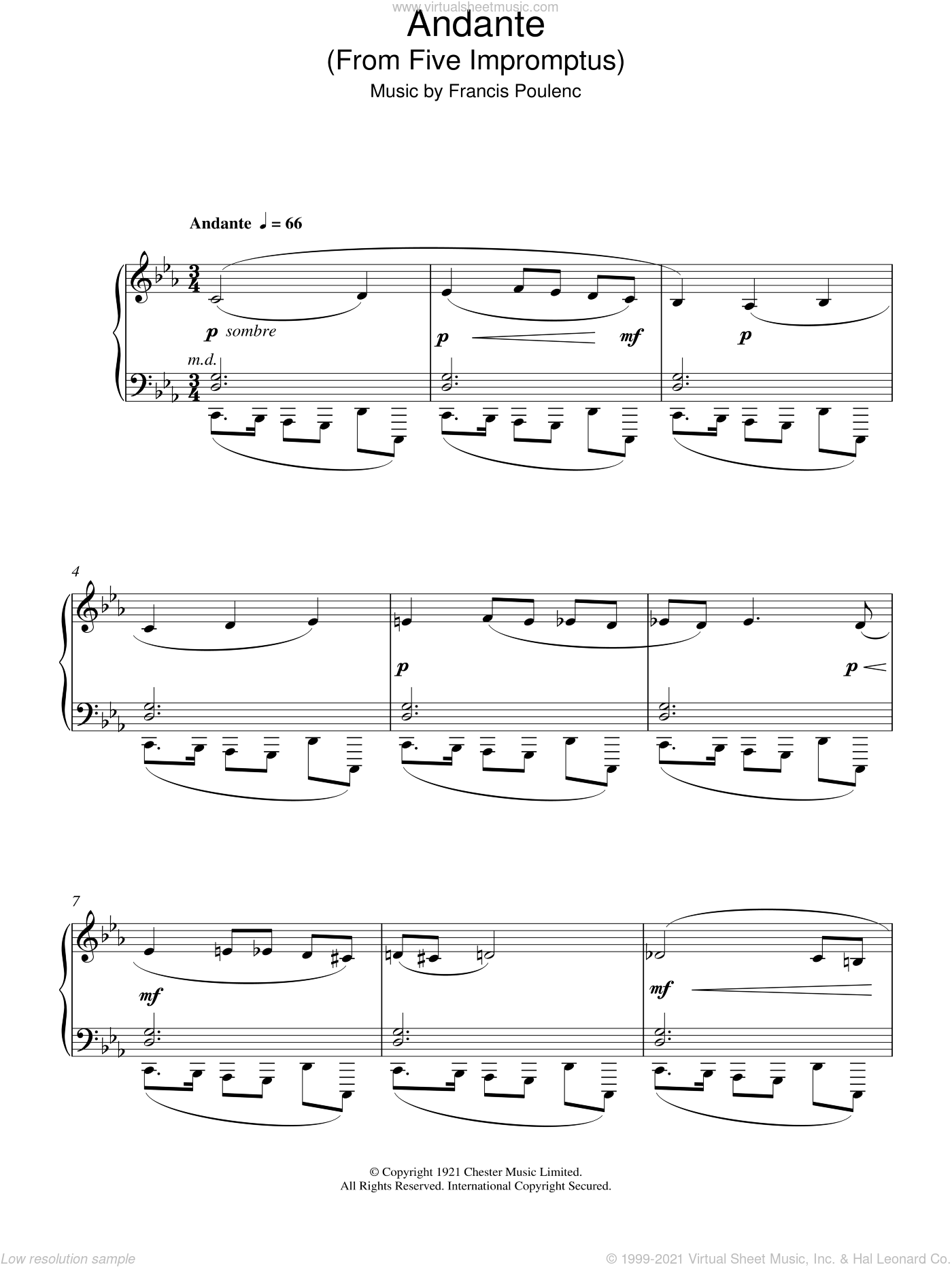Andante (From Five Impromptus) sheet music for piano solo by Francis Poulenc. Score Image Preview.