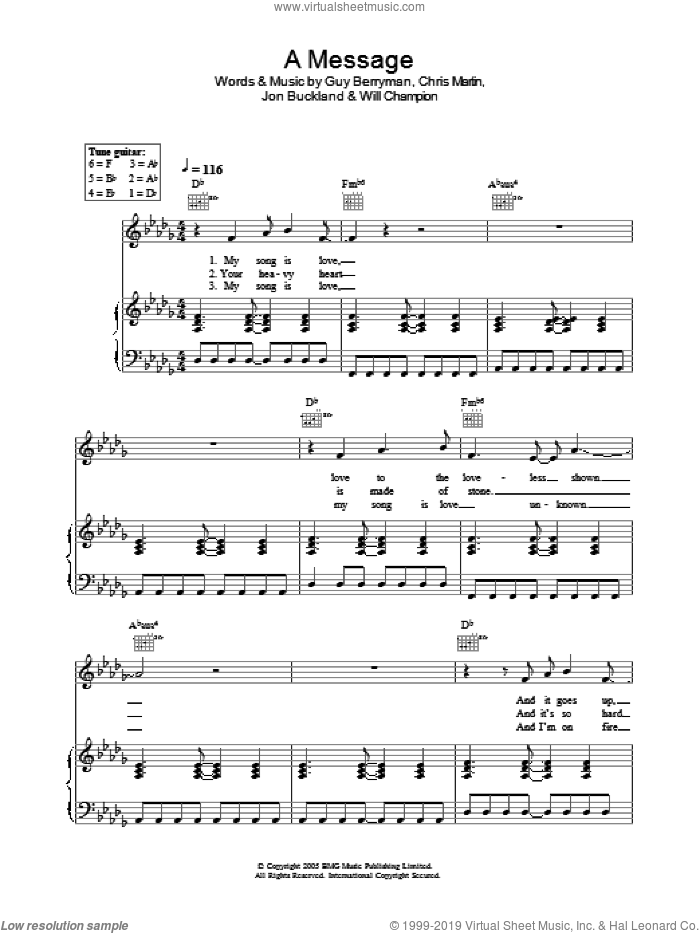 A Message sheet music for voice, piano or guitar by Will Champion, Coldplay, Chris Martin, Guy Berryman and Jon Buckland