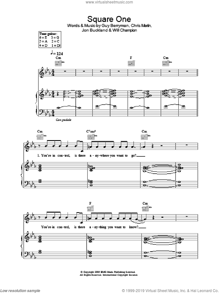 Square One sheet music for voice, piano or guitar by Coldplay, Chris Martin, Guy Berryman, Jon Buckland and Will Champion, intermediate skill level