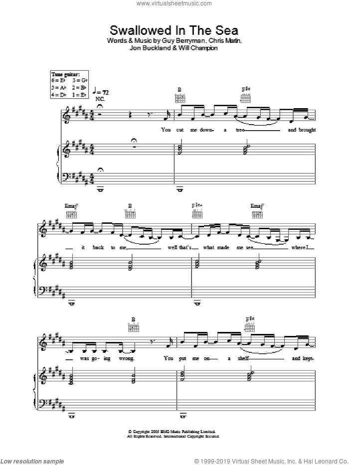 Swallowed In The Sea sheet music for voice, piano or guitar by Coldplay. Score Image Preview.