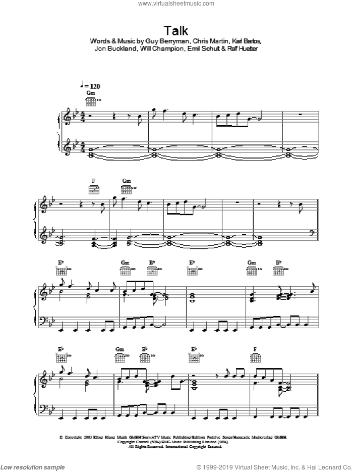 Talk sheet music for voice, piano or guitar by Coldplay, Chris Martin, Emil Schult, Guy Berryman, Jon Buckland, Karl Bartos, Ralf Huetter and Will Champion, intermediate skill level