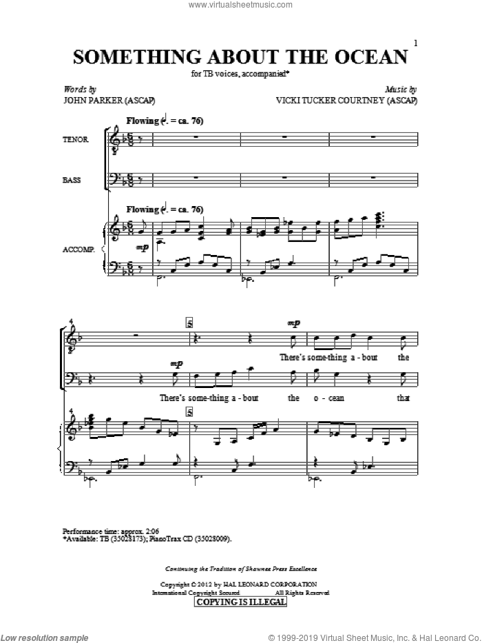 Something About The Ocean sheet music for choir (TB: tenor, bass) by John Parker and Vicki Tucker Courtney, intermediate skill level