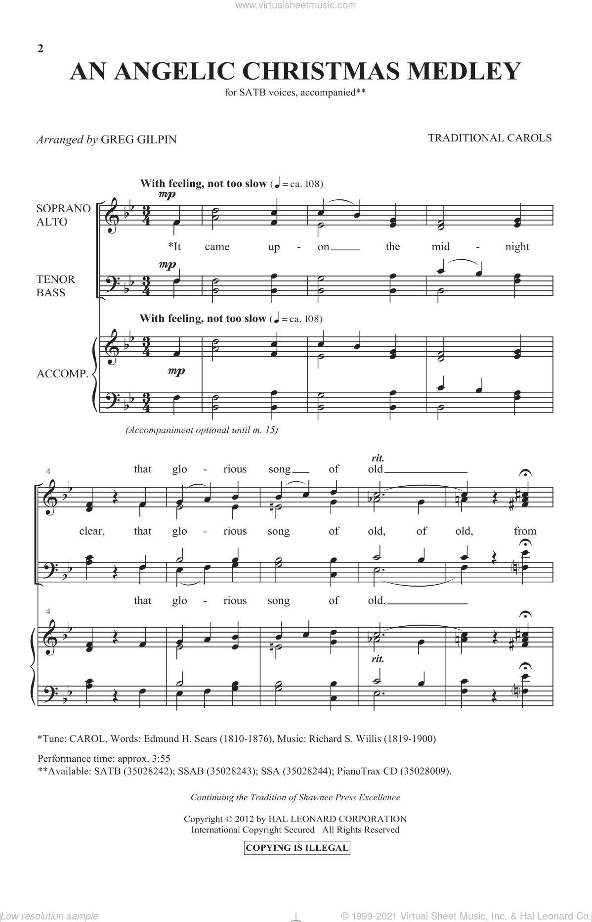 An Angelic Christmas Medley sheet music for choir (SATB)  and Greg Gilpin. Score Image Preview.