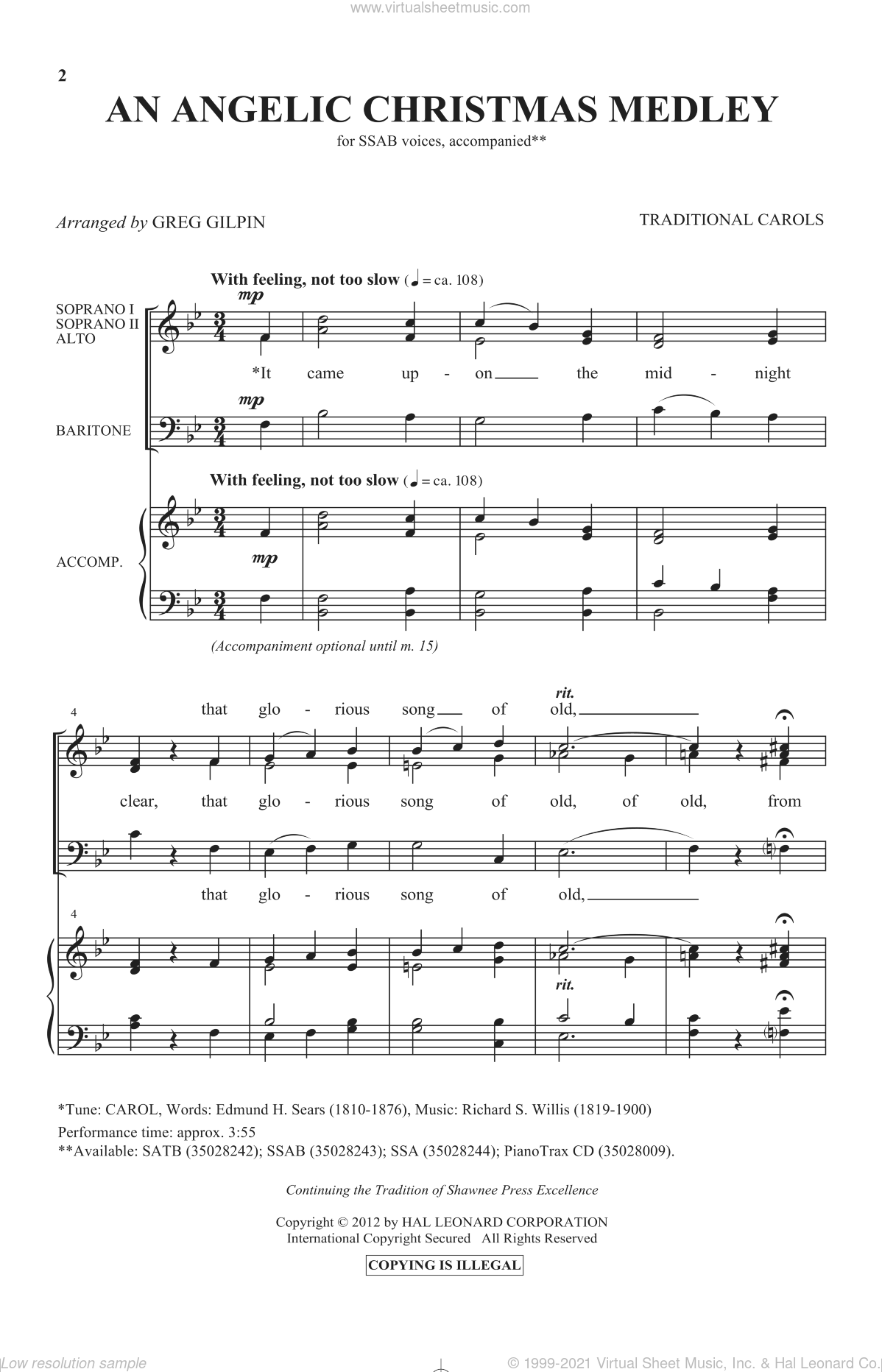 An Angelic Christmas Medley sheet music for choir (SAB: soprano, alto, bass) by Greg Gilpin and Miscellaneous, intermediate