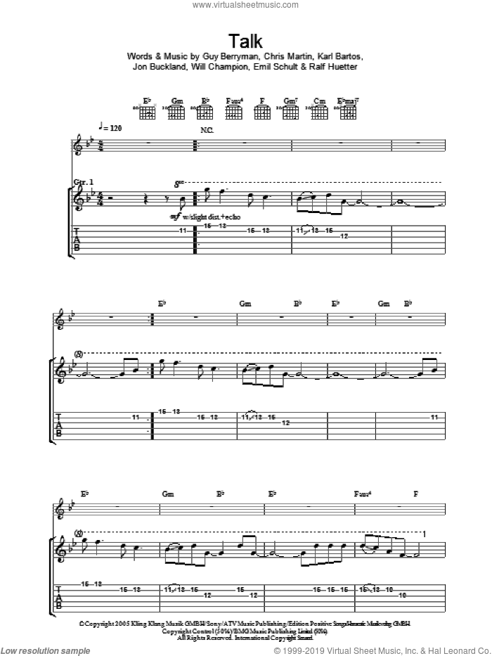 Talk sheet music for guitar (tablature) by Will Champion, Coldplay, Chris Martin, Emil Schult, Guy Berryman and Jon Buckland. Score Image Preview.