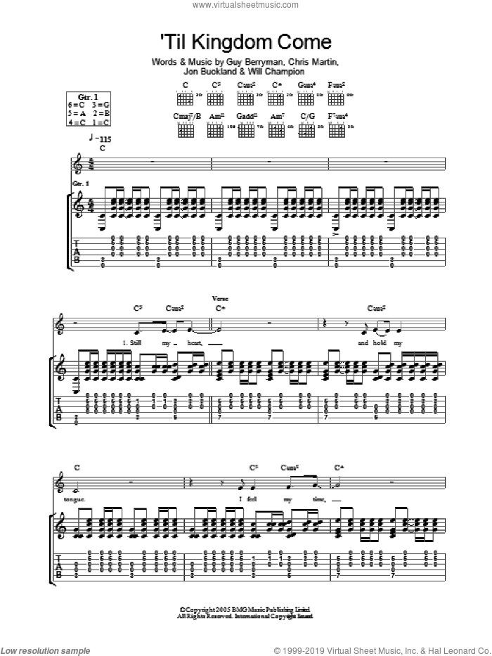 Til Kingdom Come sheet music for guitar (tablature) by Will Champion, Coldplay, Chris Martin, Guy Berryman and Jon Buckland. Score Image Preview.