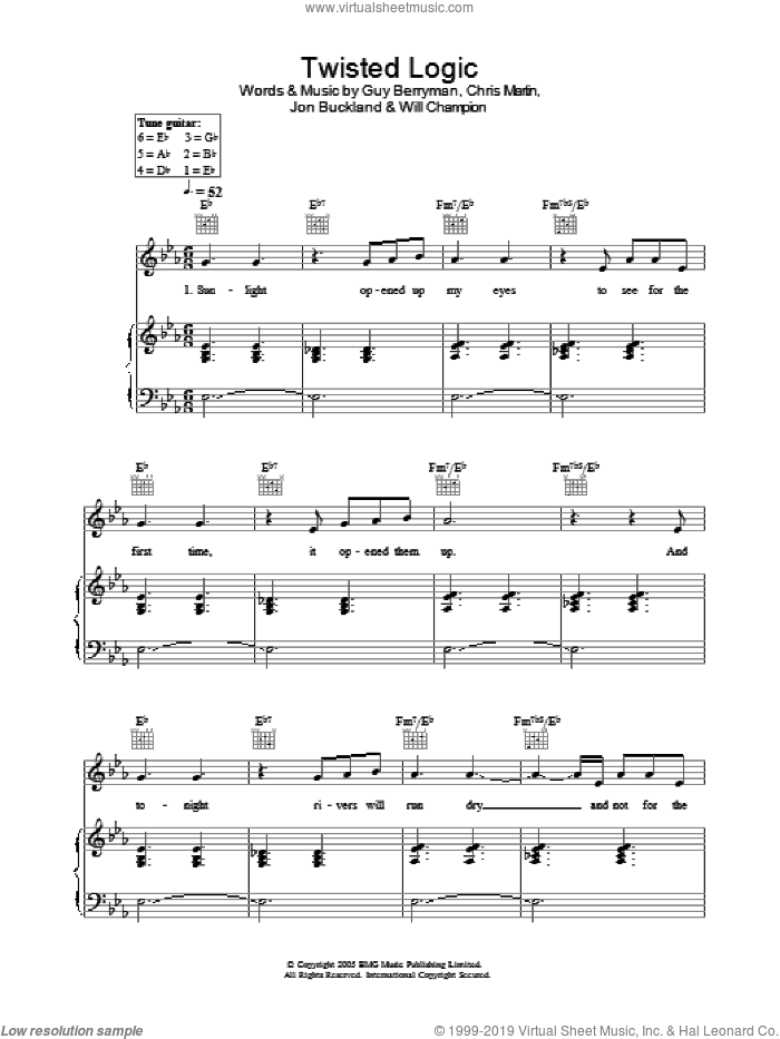 Twisted Logic sheet music for voice, piano or guitar by Will Champion, Coldplay, Chris Martin, Guy Berryman and Jon Buckland. Score Image Preview.