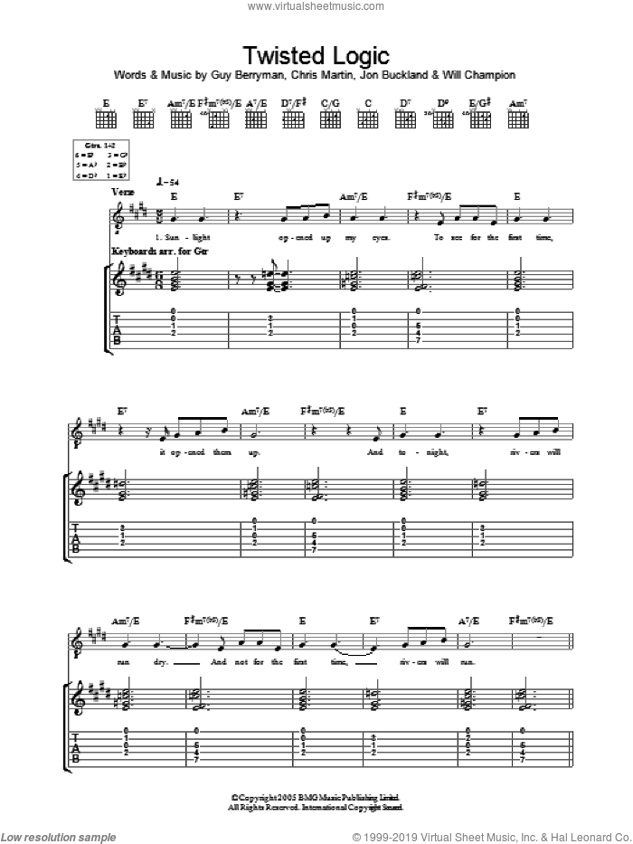 Twisted Logic sheet music for guitar (tablature) by Coldplay, Chris Martin, Guy Berryman, Jon Buckland and Will Champion, intermediate