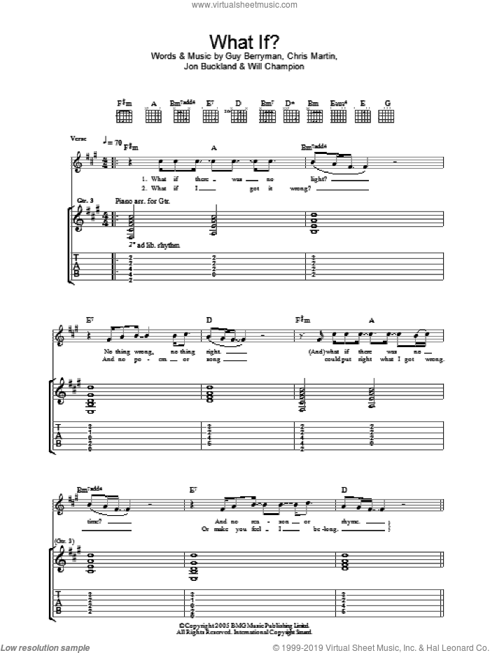 What If? sheet music for guitar (tablature) by Will Champion, Coldplay, Chris Martin, Guy Berryman and Jon Buckland. Score Image Preview.