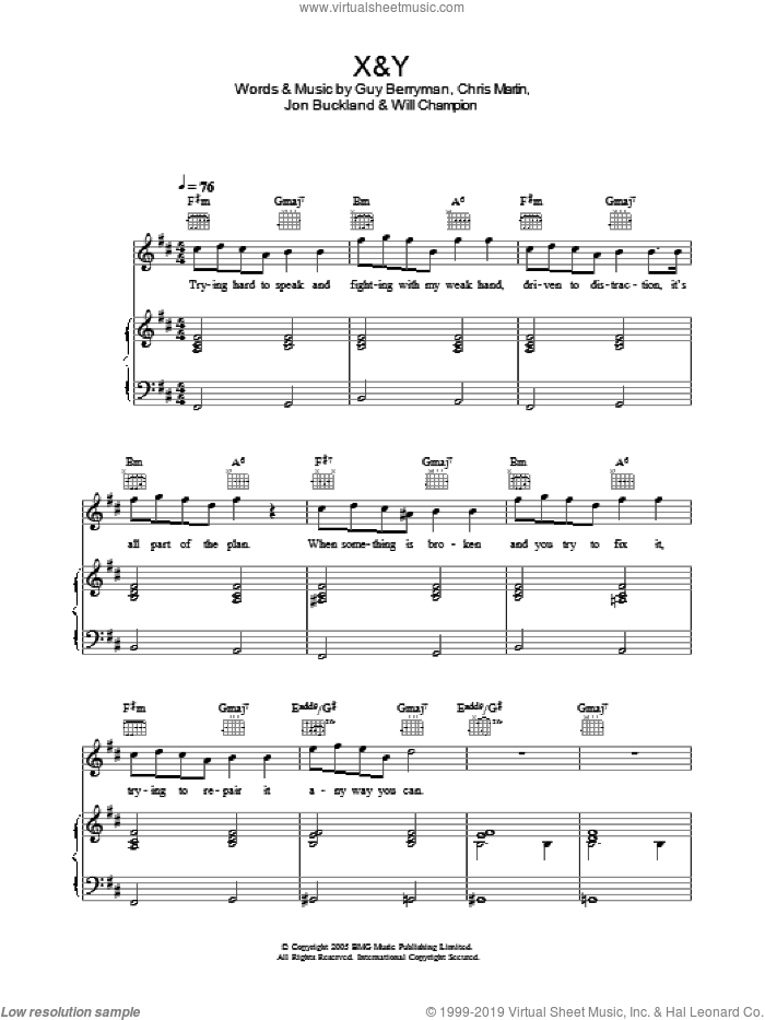 Coldplay - X&Y sheet music for voice, piano or guitar [PDF]